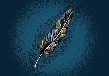 Feather Line Drawing - vector gratuit #380707
