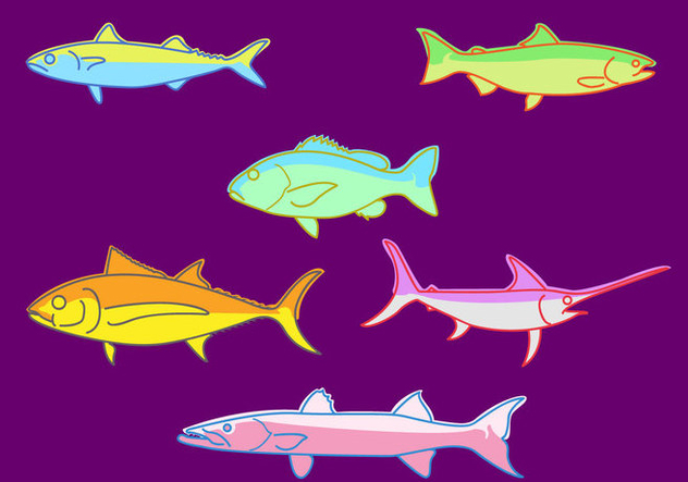 Fishes Illustration Vector - Free vector #380747