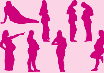 Pregnant Women Silhouettes - Free vector #381247