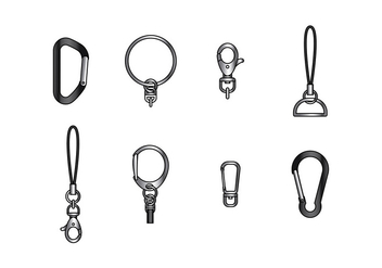 KEY CHAIN HOLDER PARTS VECTOR - бесплатный vector #381287