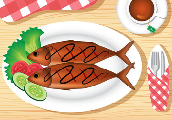 Fried Fish Dish - vector gratuit #381467