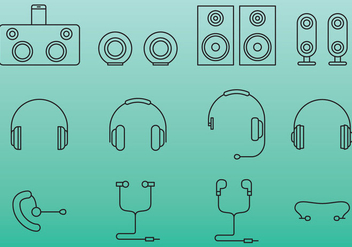Ear Bud And Speaker Icons - vector gratuit #381497