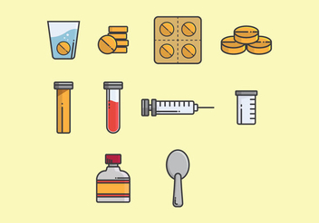 Effervescent Medicine Icon Set - vector gratuit #381557