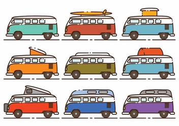 Minimalist VW Camper Icon Set - Free vector #381567