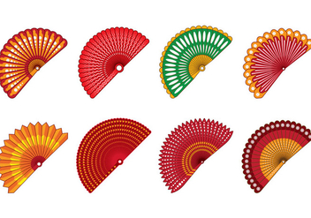 Set Of Spanish Fan Vector - Kostenloses vector #381667