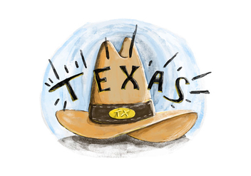 Free Texas Hat Watercolor Vector - Kostenloses vector #381807