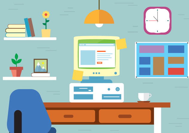 Free Work space Vector Desk - Free vector #382587