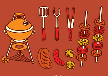 Barbecue Grill Vector Set - vector gratuit #382627