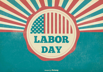 Retro Distressed Labor Day Illustration - Free vector #382857