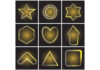 Free Various Shapes of Yellow Gold Neon Star Vector - бесплатный vector #382897