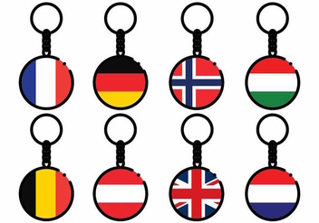 Free Europe Country Flag Key Chains Vector - бесплатный vector #383187