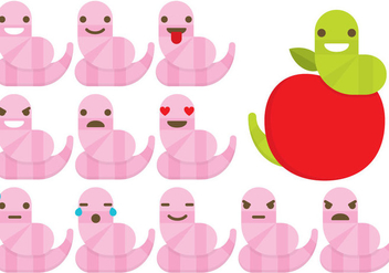 Earthworm Emoticons - vector gratuit #383207