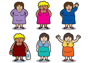 Fat Women Vector - бесплатный vector #383227