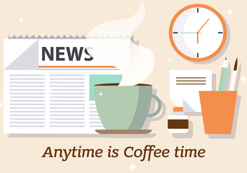 Free Coffee News Vector Illustration - vector gratuit #383297