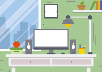 Free Business Workspace Concept Vector Illustration - vector gratuit #383317