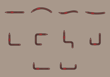 Earthworm Icon Set - vector gratuit #383417