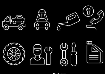 Car Service Line Icons - Free vector #383597
