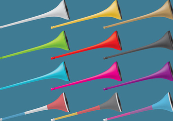 Colorful Vuvuzelas - vector #383797 gratis