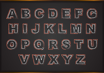 Free Chalk Alphabets On Black Board Vector - vector gratuit #383837