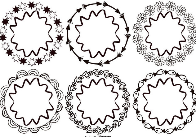 Hand Drawn Style Frames - vector gratuit #383887