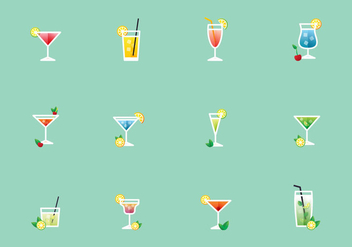 Vector Illustration Of Cocktails - vector gratuit #383897