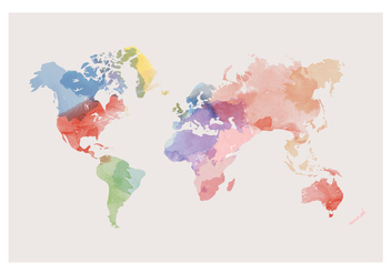 Watercolor World Map Vector - Kostenloses vector #384017