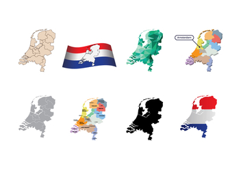 Free Netherlands Map Vector - vector gratuit #384237