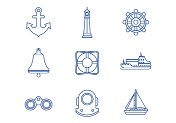 Free Nautical Line Icons - vector #384567 gratis