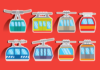 Colorful Cable Car Vector Icons - Free vector #384757