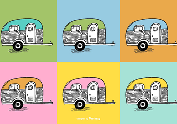 Trailer Camper Vectors - бесплатный vector #384847