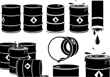 Vector Set of Oil Drums - vector gratuit #385027