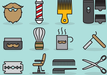 Cute Barber Icons - Free vector #385257