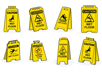 Free Wet Floor Sign Vector - vector gratuit #385337