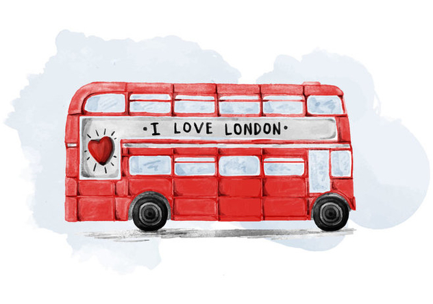 Free London Bus Watercolor Vector - vector gratuit #385457