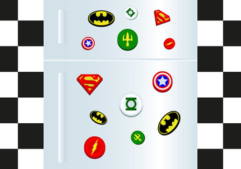 Fridge Magnet Superheros Vector - бесплатный vector #385547