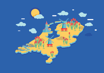 Netherlands Map Vector - бесплатный vector #385647