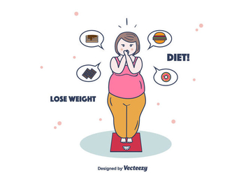 Woman On Weighing Scale - бесплатный vector #385737