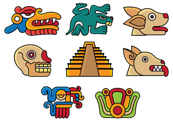 Set Of Quetzalcoatl Icons - Free vector #385897