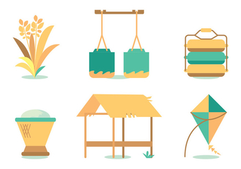 Harvesting Oats Vector Set - Kostenloses vector #386167