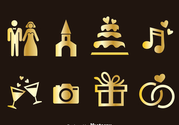 Wedding Element Golden Icons Vector - Kostenloses vector #386237