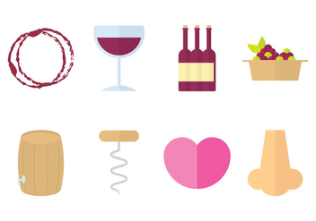 Wine Icon Flat Design - vector gratuit #386257