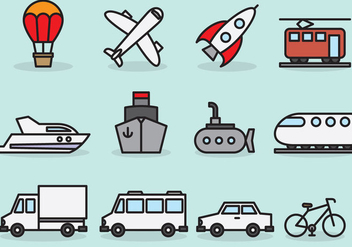 Cute Transport Icons - vector gratuit #386287