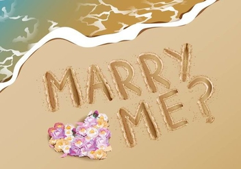 Marry Me Proposal Idea At Beach - Free vector #386397