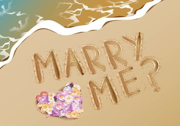 Marry Me Proposal Idea At Beach - vector #386397 gratis
