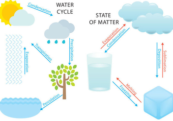 Water Cycle And States - бесплатный vector #386447