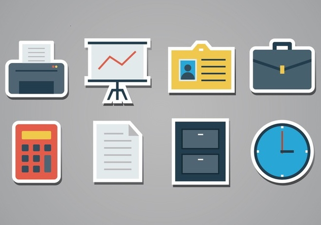 Free Office Sticker Icons - vector gratuit #386487