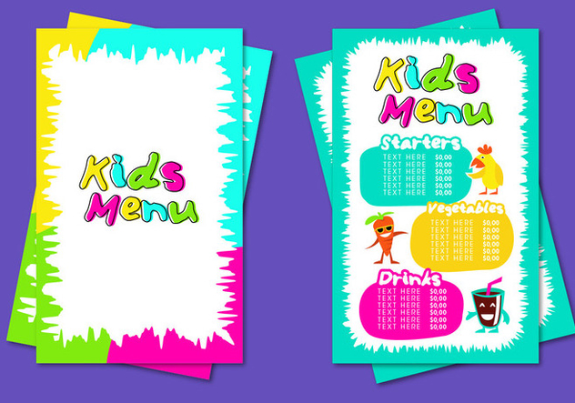 kids menu template vector free vector download 386577 cannypic