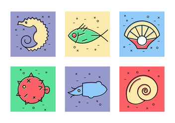 Sea Animals Vector Icons - бесплатный vector #386697