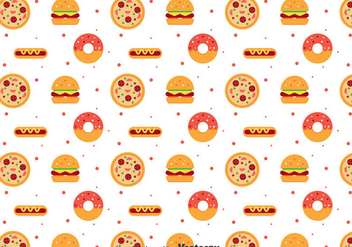 Flat Food Pattern - vector gratuit #386717