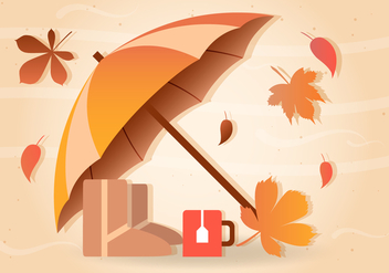 Fall Rain Vector Umbrella - Free vector #386747